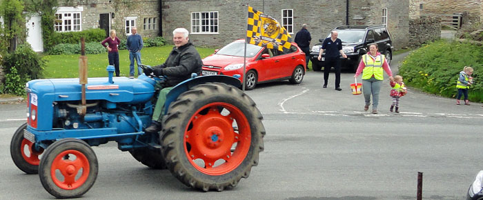 Hull City fan on the 2014 Beadlam Charity Tractor Run in Cropton