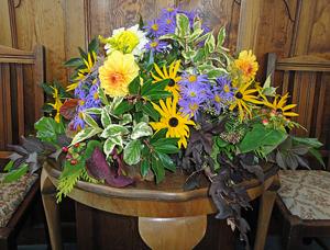 Flower display at Methodist Chapel Harveist Festival 2012