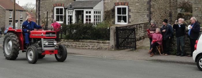 Vintage tractor at Cropton high street - Beadlam Tractor Run 2013