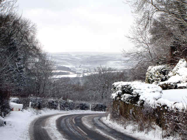 snow in north yorkshire moors from cropton