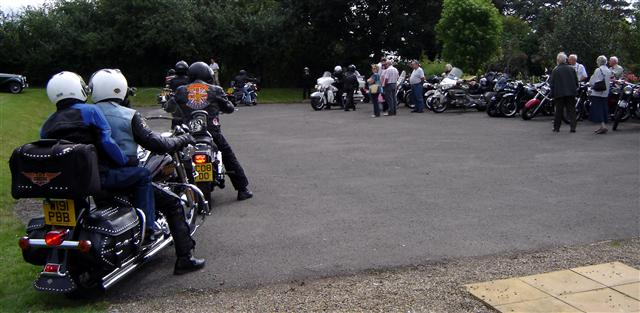 motor bikers arriving at cropton vintage rally 2009