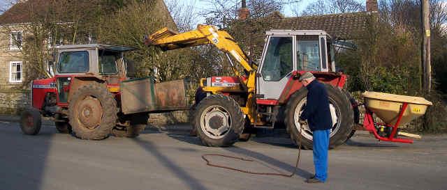 tractor broken down in cropton village high street