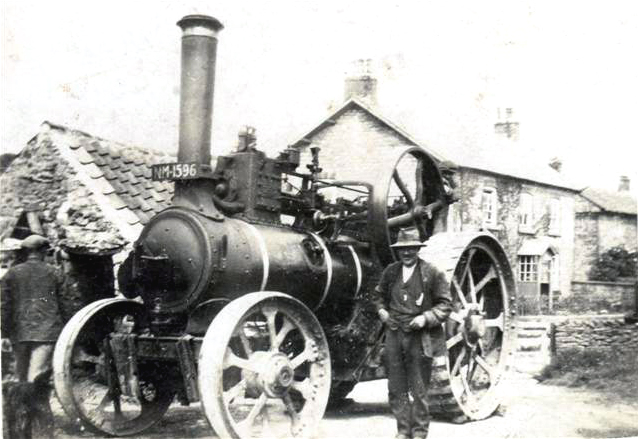 bill stephenson with traction engine in cropton wood yard