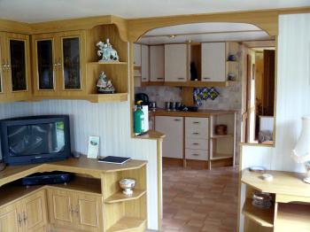 kitchen at whitethorn caravan near cropton