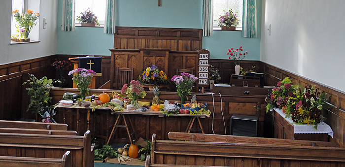 Display of produce at Cropton Harvest Festival 2012