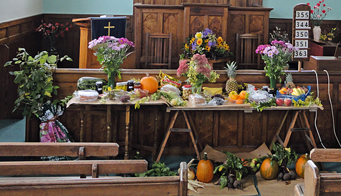 Produce Display at Cropton Methodist Chapel Harvest Festival 2012