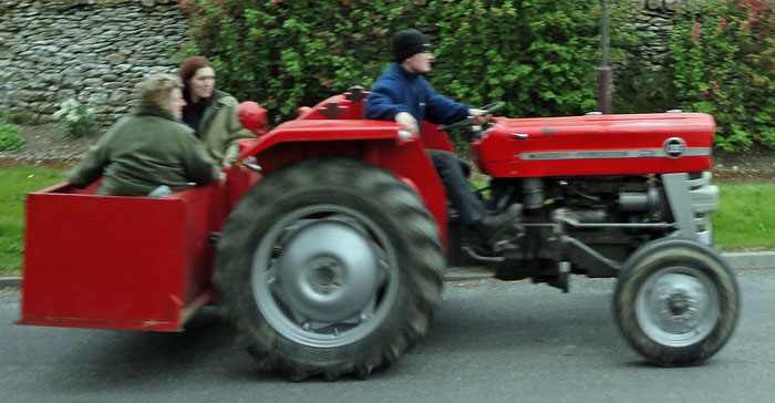 Tractors and supporters on charity tractor run in Cropton North Yorkshire