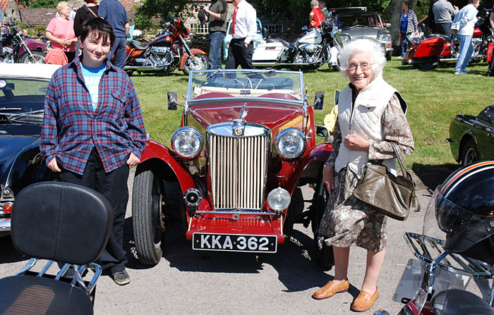 Cropton locals enjoying the vintage car rally