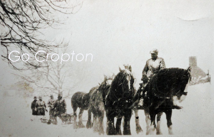 Snow Plough in Cropton village pulled by five horses