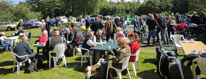 Visitors enjoying refreshment at Cropton Vintage Car and Motorcycle Rally 2014