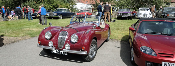 Vintage car at Cropton village hall classic car rally