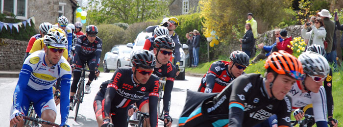 International cyclists at the Tour de Yorkshire 2015 - Cropton village