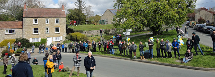 Spectators waiting in Cropton for the Tour de Yorkshire 2015