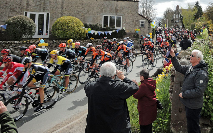 The Peleton of the Tour de Yorkshire cycling through Cropton on 1st May 2015