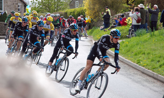 Team Sky cyclists in Cropton on the Tour de Yorkshire 2015