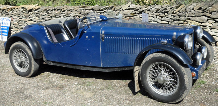 Vintage blue MG car