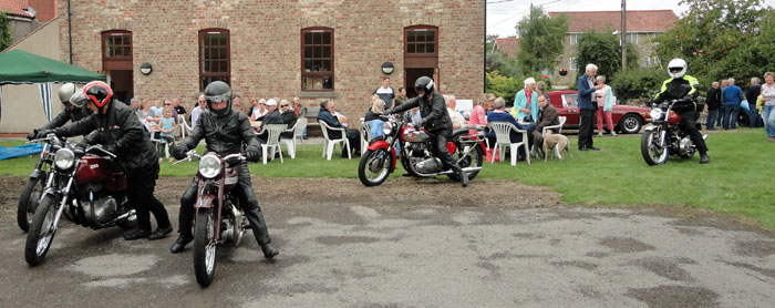 Motorcyclists arriving at the 2018 Cropton rally - Vintage motorbikes