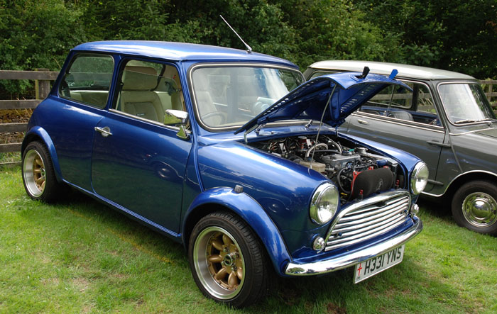 Blue Mini in Cropton village hall field - Vintage Rally 2018