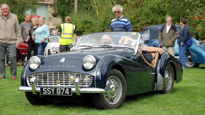 Triumph car arriving at Cropton Vintage Rally 2018